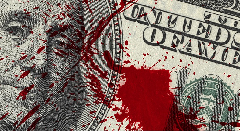 Dollar bill splashed with blood