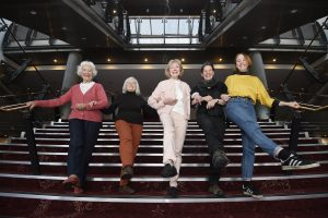 five women in tiller line at festival theatre edinburgh