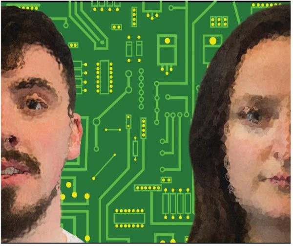 Man and woman pixellated against printed circuity board background